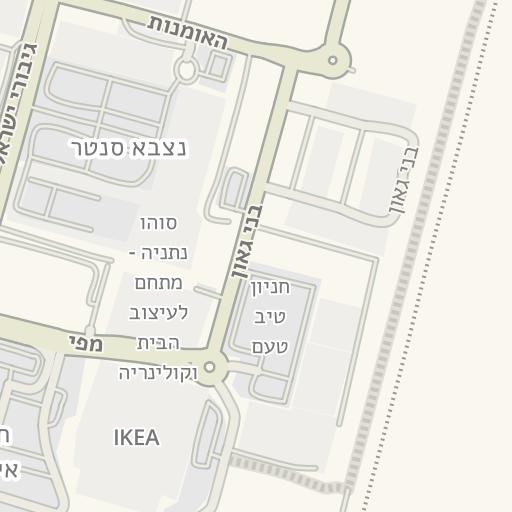 מרענן Waze Livemap - מסלול נסיעה אל מחלף גשר השלום, נתניה, ישראל FZ-79